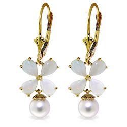 ALARRI 6 Carat 14K Solid Gold Leverback Earrings Opal Pearl