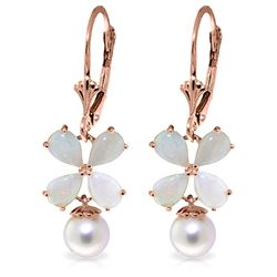 ALARRI 6 Carat 14K Solid Rose Gold Leverback Earrings Opal Pearl
