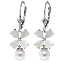 ALARRI 6 Carat 14K Solid White Gold Leverback Earrings Opal Pearl
