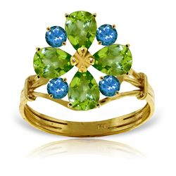 ALARRI 2.43 Carat 14K Solid Gold Ring Natural Peridot Blue Topaz