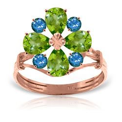 ALARRI 14K Solid Rose Gold Ring w/ Natural Peridot & Blue Topaz