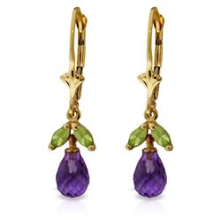 ALARRI 3.4 Carat 14K Solid Gold Virginia Amethyst Peridot Earrings