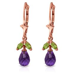 ALARRI 3.4 Carat 14K Solid Rose Gold Amethyst Peridot Briolette Earrings