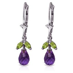ALARRI 3.4 Carat 14K Solid White Gold Raise Your Voice Amethyst Peridot Earrings