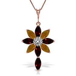 ALARRI 14K Solid Rose Gold Necklace w/ Diamond, Garnets & Citrines