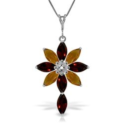 ALARRI 2 CTW 14K Solid White Gold Necklace Diamond, Garnet Citrine
