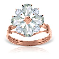 ALARRI 14K Solid Rose Gold Ring w/ Natural Aquamarines