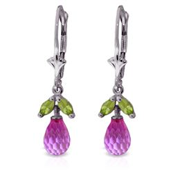 ALARRI 3.4 Carat 14K Solid White Gold Leverback Earrings Pink Topaz Peridot