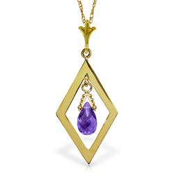 ALARRI 0.7 CTW 14K Solid Gold Loving Arms Amethyst Necklace