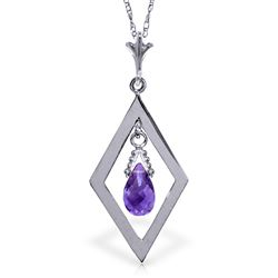 ALARRI 0.7 Carat 14K Solid White Gold Life's Heart Amethyst Necklace