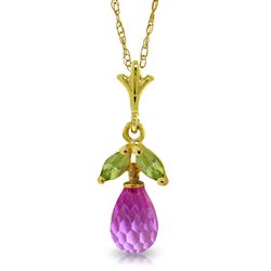 ALARRI 1.7 Carat 14K Solid Gold Necklace Pink Topaz Peridot