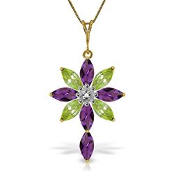 ALARRI 2 Carat 14K Solid Gold Necklace Diamond, Purple Amethyst Peridot
