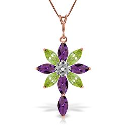 ALARRI 14K Solid Rose Gold Necklace w/ Diamond, Purple Amethyst & Peridot