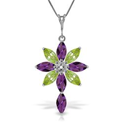 ALARRI 2 Carat 14K Solid White Gold Necklace Diamond, Purple Amethyst Peridot