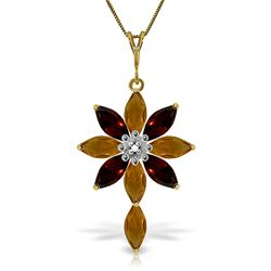 ALARRI 2 Carat 14K Solid Gold Necklace Diamond, Citrine Garnet