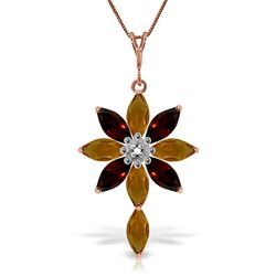 ALARRI 14K Solid Rose Gold Necklace w/ Diamond, Citrines & Garnets