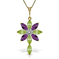 ALARRI 2 CTW 14K Solid Gold Necklace Diamond, Peridot Amethyst