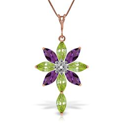 ALARRI 14K Solid Rose Gold Necklace w/ Diamond, Peridot & Amethyst