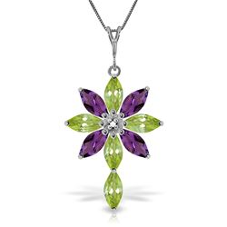 ALARRI 2 CTW 14K Solid White Gold Necklace Diamond, Peridot Amethyst