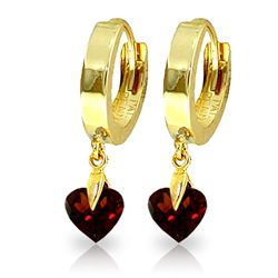 ALARRI 1.5 CTW 14K Solid Gold Hoop Earrings Natural Garnet