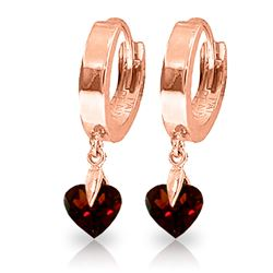 ALARRI 1.5 Carat 14K Solid Rose Gold Hoop Earrings Natural Garnet