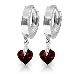 ALARRI 1.5 Carat 14K Solid White Gold Hoop Earrings Natural Garnet