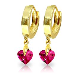 ALARRI 1.5 Carat 14K Solid Gold Hoop Earrings Pink Topaz