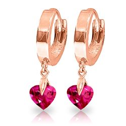 ALARRI 1.5 CTW 14K Solid Rose Gold Hoop Earrings Pink Topaz