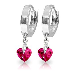 ALARRI 1.5 Carat 14K Solid White Gold Hoop Earrings Pink Topaz