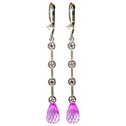 ALARRI 14K Solid White Gold Chandelier Diamonds Earrings w/ Pink Topaz