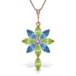 ALARRI 14K Solid Rose Gold Necklace w/ Diamond, Peridot & Blue Topaz