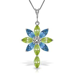 ALARRI 2 Carat 14K Solid White Gold Necklace Diamond, Peridot Blue Topaz