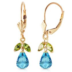 ALARRI 3.4 Carat 14K Solid Gold Leverback Earrings Blue Topaz Peridot