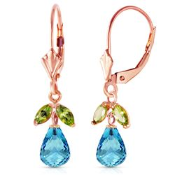 ALARRI 3.4 Carat 14K Solid Rose Gold Leverback Earrings Blue Topaz Peridot