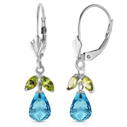ALARRI 3.4 Carat 14K Solid White Gold Leverback Earrings Blue Topaz Peridot
