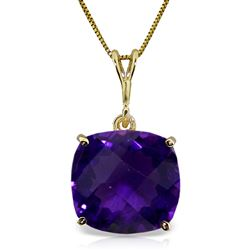 ALARRI 3.6 Carat 14K Solid Gold Necklace Natural Checkerboard Cut Purple Amethyst