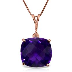 ALARRI 3.6 Carat 14K Solid Rose Gold Necklace Natural Checkerboard Cut Purple Amethyst