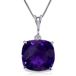 ALARRI 3.6 Carat 14K Solid White Gold Necklace Natural Checkerboard Cut Purple Amethyst