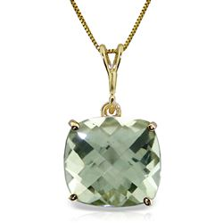 ALARRI 3.6 Carat 14K Solid Gold Necklace Natural Checkerboard Cut Green Amethyst