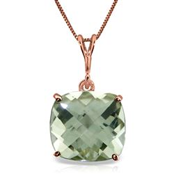 ALARRI 3.6 Carat 14K Solid Rose Gold Necklace Natural Checkerboard Cut Green Amethyst
