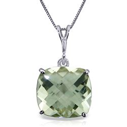 ALARRI 3.6 CTW 14K Solid White Gold Necklace Natural Checkerboard Cut Green Amethyst