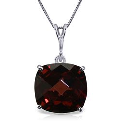 ALARRI 4.5 Carat 14K Solid White Gold Necklace Natural Checkerboard Cut Garnet