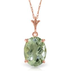 ALARRI 14K Solid Rose Gold Necklace Natural Checkerboard Cut Green Amethyst