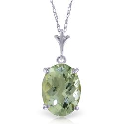 ALARRI 3.2 CTW 14K Solid White Gold Starting Now Green Amethyst Necklace