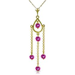 ALARRI 1.5 Carat 14K Solid Gold Pink Lily Pink Topaz Necklace