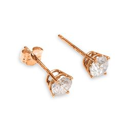 ALARRI 0.2 Carat 14K Solid Rose Gold Stud Earrings 0.20 Carat Natural Diamond