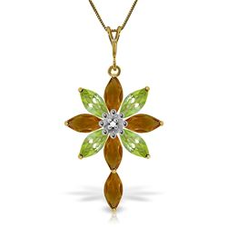 ALARRI 2 Carat 14K Solid Gold Necklace Diamond, Citrine Peridot