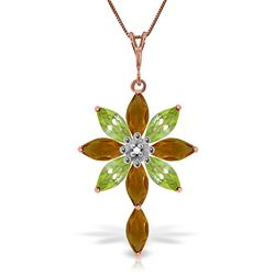 ALARRI 14K Solid Rose Gold Necklace w/ Diamond, Citrines & Peridots