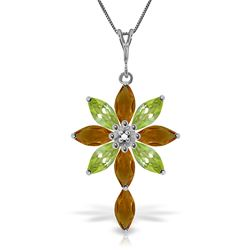 ALARRI 2 Carat 14K Solid White Gold Necklace Diamond, Citrine Peridot