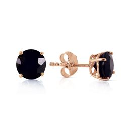 ALARRI 1 Carat 14K Solid Rose Gold Stud Earrings 1.0 Carat Natural Black Diamond